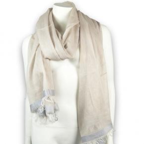 Estelle Baumwollschal in beige mit silber