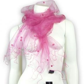 Estelle Seidenschal mit Filzpunkten pink