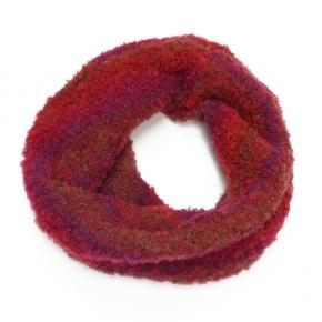 Bouclé Wollseiden-Loop Rot-Mix