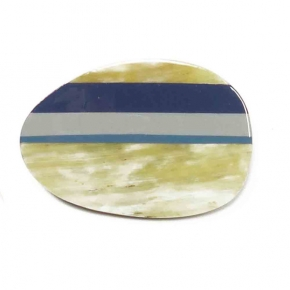 "Stephisimo Horn-Brosche ""Craft Art""  oval blaugrau"
